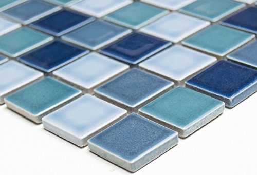 Mosaic Network Mosaic Tile Square Mix Blue Glossy Ceramic Mosaic Wall Tile Shower Tray Tile Backsplash Kitchen Bathroom Toilet