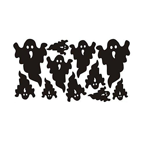 (IrahdBowen Wandaufkleber PVC Nicht Giftig Nicht Verblassen Halloween Ghost Wandaufkleber Lösbaren Tapeten Für Party Schlafzimmer Tür Fenster Decor Schwarz Wohnzimmer Figuren Wandaufkleber Kinderzimme)