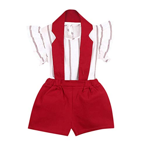LIGESAY Kleinkind Kinder Baby Mädchen Kleidung Set Outfit Streifen T-Shirt Tops + Shorts Hosen Set Babykleidung Set Blumendruck Kostüme Tops Kindermode Kitty Stirnband