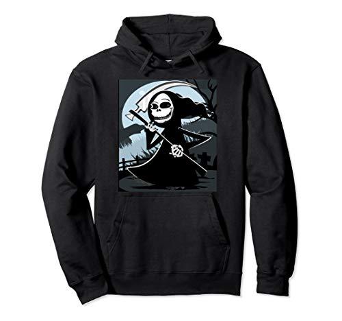 Reaper Grim Kostüm Herren - Gruseliger Grim Reaper Friedhof Sense Totenkopf Halloween Pullover Hoodie