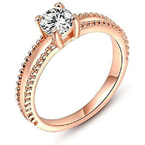 Bling fashion anello placcato in oro rosa 18 K con due strati Rigonfiamento e bianco lucido Gem