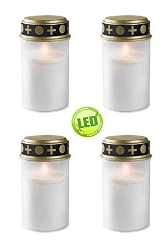 4er Set Grablichter weiß, LED Kerze, Grabkerze, Flackereffekt, inkl. Batterien