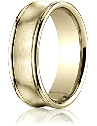 14ct Yellow Gold, 7.5mm Comfort-Fit Satin Concave Round Edge Band (sz H to Z5)