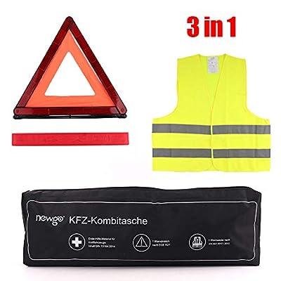 3 in 1 KFZ Verbandskasten Kombitasche mit Warnweste, Warndreieck, Erste Hilfe Set DIN13164