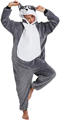 Für Passende Zwei Kostüm - Chichidog Halloween-Pyjama Homewear Einteiler Cosplay Kostüm Loungewear Gr. (Passende Höhe: 170 cm/178 cm) Large, Gray Husky 2