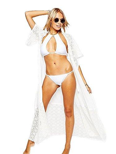 Langer Damen Strandmantel Kleid Spitze Schwarz Weiß Bikini Bademode Kimono S/M/L Farbe weiß