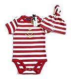 Baby Set Anker mit Herz'Glaube Liebe Hoffnung' - Baby Body & Mütze - rot weiß gestreift/gold - Fair - Babystrampler, Babygeschenk, Babyset, 2 teilig, Geschenk zur Geburt