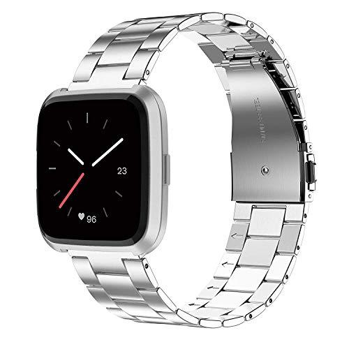 Wearlizer für Fitbit Versa Armband, Edelstahl Ersatzband Armbänder für Fitbit Versa Special Edition Klein Groß - Silber - Fitbit-armband Faltschließe