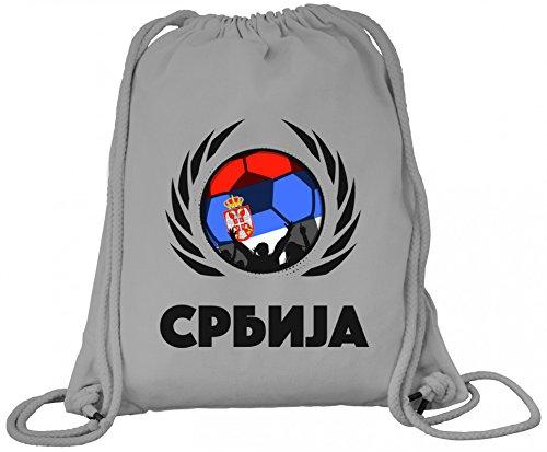 Serbia Fanfest Fussball WM Bio Baumwoll Turnbeutel Rucksack Gym Bag Fußball Serbien Heather Grey