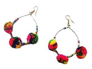muccasacra Stylish & Funky Handmade Multicolour thread Earring