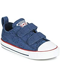 3a7baa2f0eb10 Converse Chuck Taylor All Star 2V Broaderie Anglias Ox Marine Grenat  Textile Bébé Formateurs Chaussures