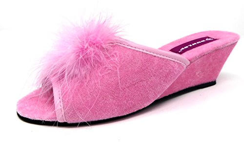 Femmes Dunlop Marilyn Semelle Compensée Pantoufles Mules - Fuchsia, Femmes, EU 38