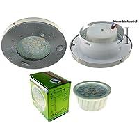 Trango IP44 Einbaustrahler rund schwenkbar inkl. 1x3W LED Modul nur 3 cm Einbautiefe (TG6729IP-012M3 Edelstahl-Look) Bad Dusche