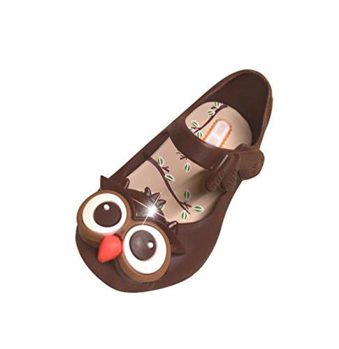 CHENGYANG Enfant Filles Etudiant Dessin Animé Hibou Souple Semelle Sandales Non Slip Chaussures de Gelée Brun Foncé