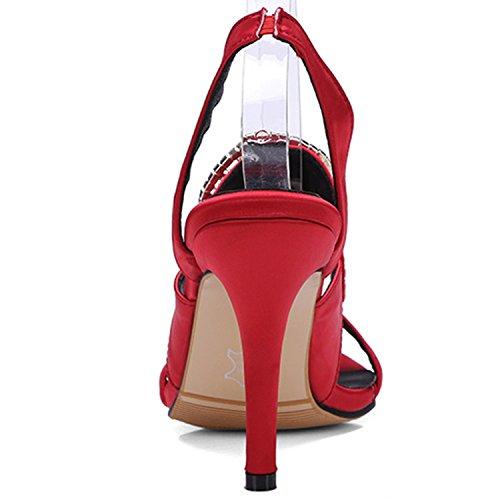 Oasap Damen Offen Slingback Strass Stiletto Sandalen Red