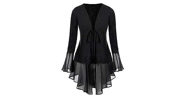 NREALY Blusa Womens Plus Size Space Tie-dye Flare Sleeve Chiffon Bandage Cardigan Tops Blouse