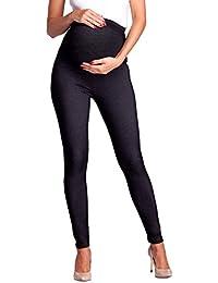 Zeta Ville - Femme maternité Leggings Effet Jean empiècement Extensible -  948c e63b3d65909
