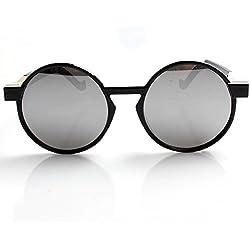 Accessoryo - Runde schwarze Rahmen Sonnenbrille mit Metall Details und Silber gespiegelte Linsen