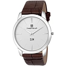 TIMEWEAR Analogue Men's Watch (Off White Dial Brown Colored Strap)