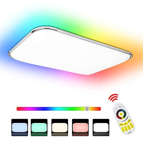 Hengda 48W RGB LED Deckenleuchte Dimmbar, Deckenlampe Spritzwasser geschützt IP44, Kinderzimmerlampe Schlafzimmerlampe Flimmerfrei und Blendfrei, Wohnzimmerlampe 4320LM