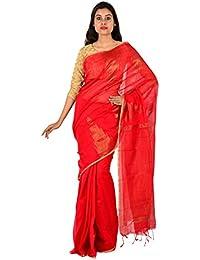 TJ SAREES Bengal Handloom Cotton Silk Saree (Red)