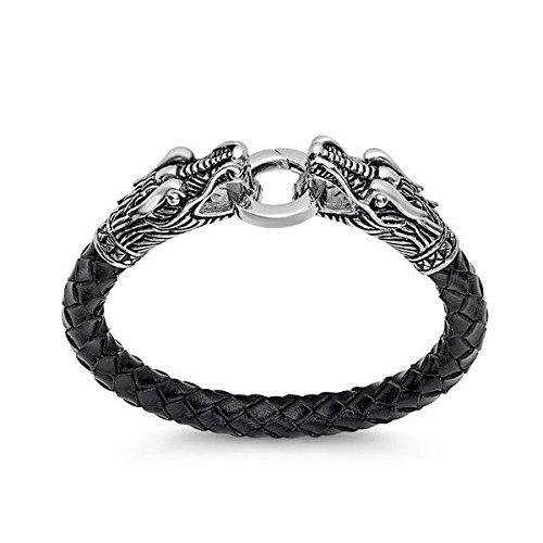 oxford-ivy-herren-schwarz-geflochten-leder-und-edelstahl-drachen-kopf-armband-8-mm-dick