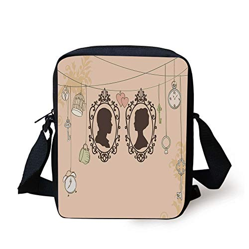 Wedding Decorations,Vintage Silhouette Frames Married Couple French Style Design,Light Pink Dark Brown Print Kids Crossbody Messenger Bag Purse