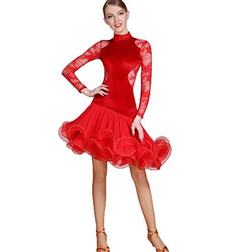 (Professionel Lateinischer Tanz Rock Für Damen Hoher Ausschnitt Hohl Rückenfrei Lateinisches Tanzkleid Samt Schnüren Spleißen Tanz-Outfit Fishbone Rock, Red, S)