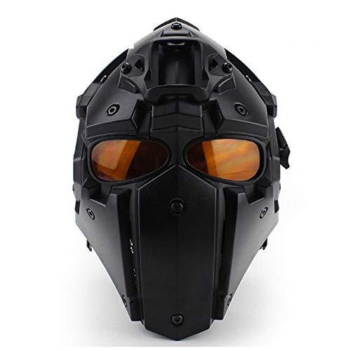 Feeyond Multifunktionales Offroad-Motorrad, Stoßfest, Militärisch Einstellbar, Helm + Lüfter + Maske + Schutzbrille,Black