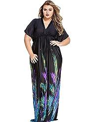 yueyue & FA elegante negro, lose corte máxima de vestido, color negro, tamaño xx-large