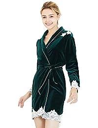 DSJJ Peignoir Femme Velours Robe de Chambre Polaire Chaud Long Flanelle  Peignoir de Bain Eponge Hiver 01a2b28ad062