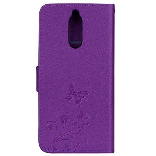 Surakey Coque Compatible avec Huawei Mate 10 Lite,Fleur de Papillon Motif Cristal Glitter Strass PU Cuir Case à rabat Coque Portefeuille Housse Flip Wallet Case Magnétique Étui,Violet