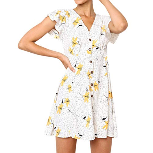 Pondkoo 2019 Neue Sommerkleider, Frauen Neckholder Blumendruck Kurzarm Strand Mini Kurzes Kleid Lässige Sommerkleid ()