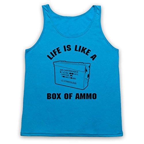 Inspiriert durch Duke Nukem Life Is Like A Box Of Ammo Inoffiziell Tank-Top Weste, Neon Blau, 2XL
