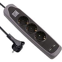Electraline Gummy 62150 Regleta Base 3 Enchufes y 2 USB 2.1A - Cover de silicona - cable 2 m clavija plana