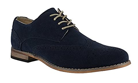 MENS LACE UP SHOES FAUX SUEDE BROGUES IN 3 COLOURS NAVY 11