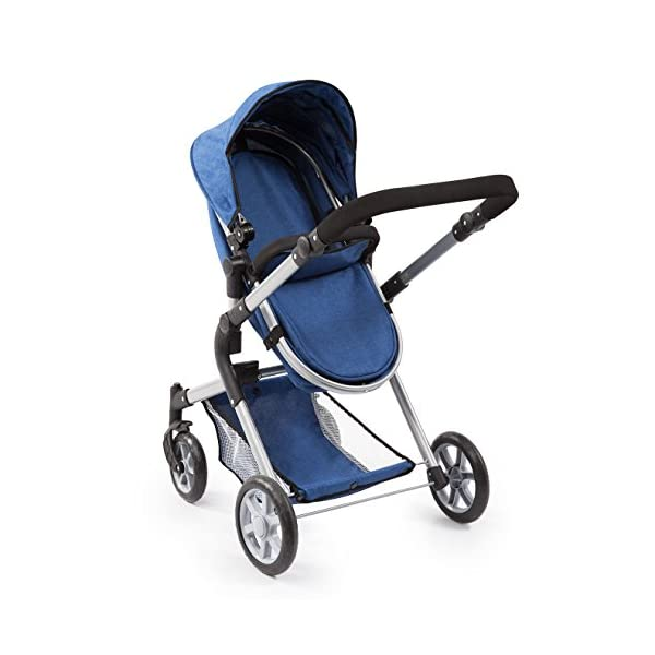 Bayer Design 18135AA City Neo Doll's Pram with Bag and Underneath Shopping Basket, Blue Bayer Design dimension: 82 x 38.5 x 79 cm suitable for dolls up to 52 cm adjustable handle height: 59 - 79 cm 4