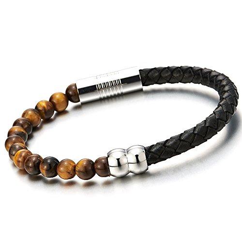 Unisex Leder-Armband für Herren Damen Jungen Schwarz Geflochtenes Leder und Wulst Tigerauge Stein Armreif (Leder Armband 6mm)