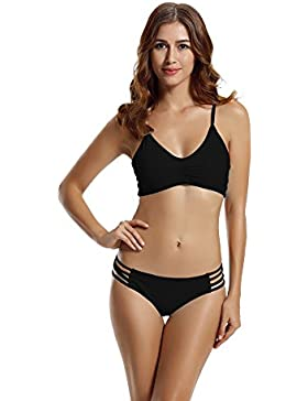 Zeraca Damen Plus Size Sexy Racerback Bikini badeanzug XL Euro 48 Schwarz