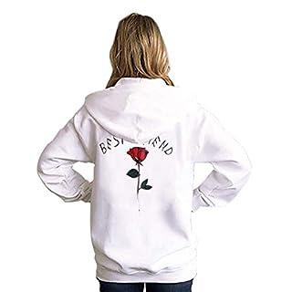 Hoodie Damen Hipster Rosenstickerei Pulli Damen Langarmshirt Oversize  Sweatshirt mit Kapuze Jumper Brief Grauer Best Friends 25b2551d53