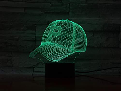 laoniebaozhuang Optische Täuschung 3D Nachtlicht Led Lampe Acryl Stereoscopic Colourful Lamp Gradient Lamp Baseball, Team Logo, Kostüm-Modell Geschenk (Stecker & Sockel Kostüm)