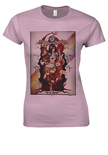 Alice Wonderland Zombieland Zombie Novelty Forest Light Pink Women T Shirt Top-XXL (Alice Light T-shirt Womens)