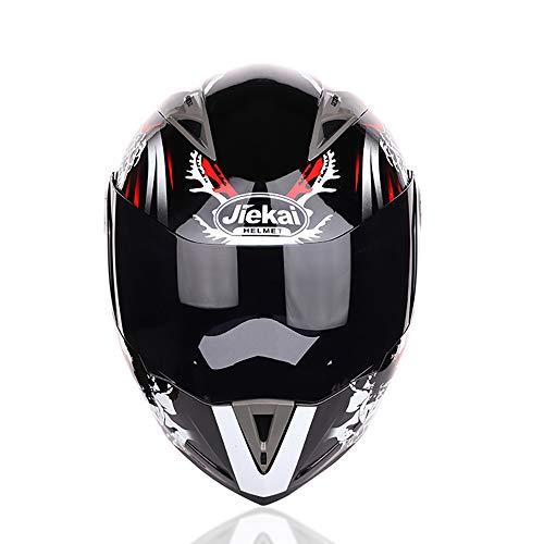 Racing Motorradhelm Erwachsene Motocross Helme Motorrad Moped Flip Up Modular Crash Helme DOT Genehmigt Doppel Visierlinse Vollgesichtsschutzkappe,Red,XXL