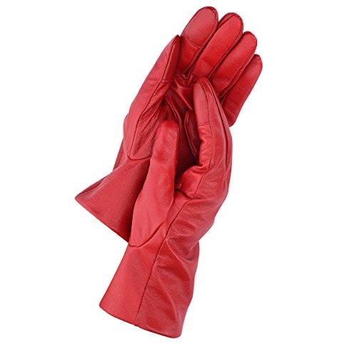 Navaris guantes de cuero napa para mujer - guantes de piel de cordero