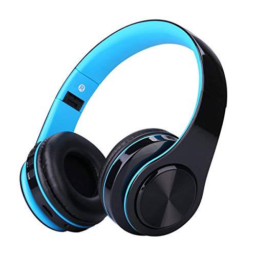 Cuffie Bluetooth Senza Fili con Microfono, ZLX Pieghevole Over-Ear Wireless Bluetooth headphones per iPhone/iPad/LG/Samsung/Galaxy/Sony/Huawei/Altri Telefoni e PC(Blu)