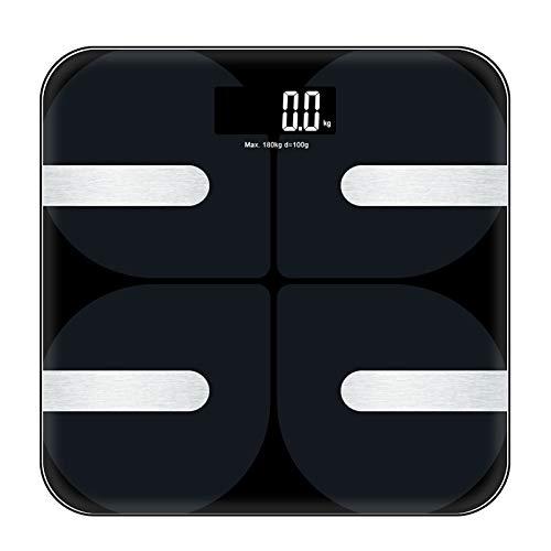 MHTECH Bluetooth Körperfettwaage Digitale Waage mit App -18 Körperdaten,Langzeit-PHMS-Analyse, Balance für Körperfett Gewicht, Muskelmasse,Gewicht,BMI, BMR usw.Kompatibel mit iOS und Android-bis 180kg