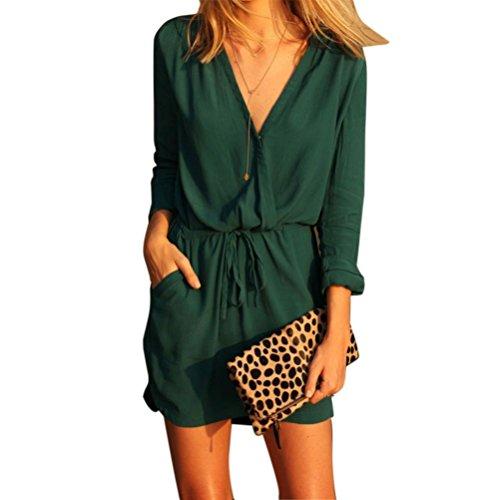 Preisvergleich Produktbild Elecenty Damen Sommerkleid Rock Chiffon Mädchen Lose V-Ausschnitt Kleider Frauen Mode Langarm Knielang Kleid Minikleid mit Taschen Kleidung Abendkleider (S, Grün)