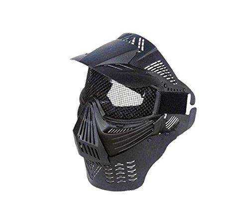 Schwarz mit Mesh-Objektiv 270Grad Sichtbarkeit Schutzmaske Militär Schutz Paintball Halloween-Kostüm htuk® (Halloween Kostüme Objektive)