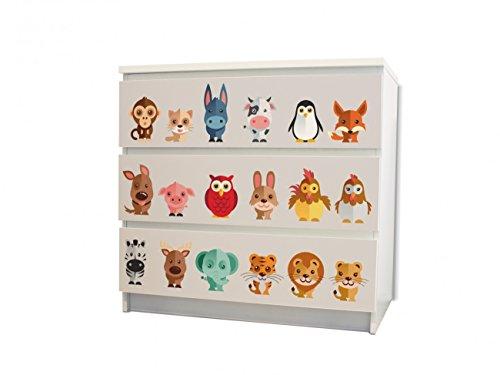 banjado YOURDEA MöbelFolie für IKEA Malm Kommode mit 3 Schubladen | Perfekt für Das Kinderzimmer | Möbelaufkleber 3-teilig ca. 80x78cm | Möbelsticker Selbstklebend mit Motiv Freunde