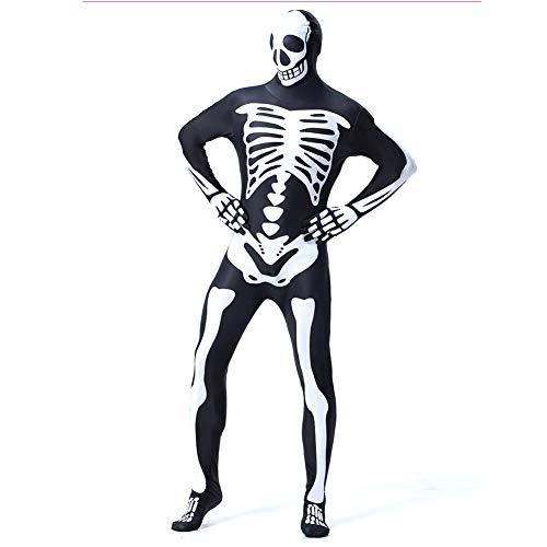 JH&MM Halloween Kostüm Erwachsenen Schädel Skelett Engen Body All-Inclusive-Druck Maskerade Leistung,M